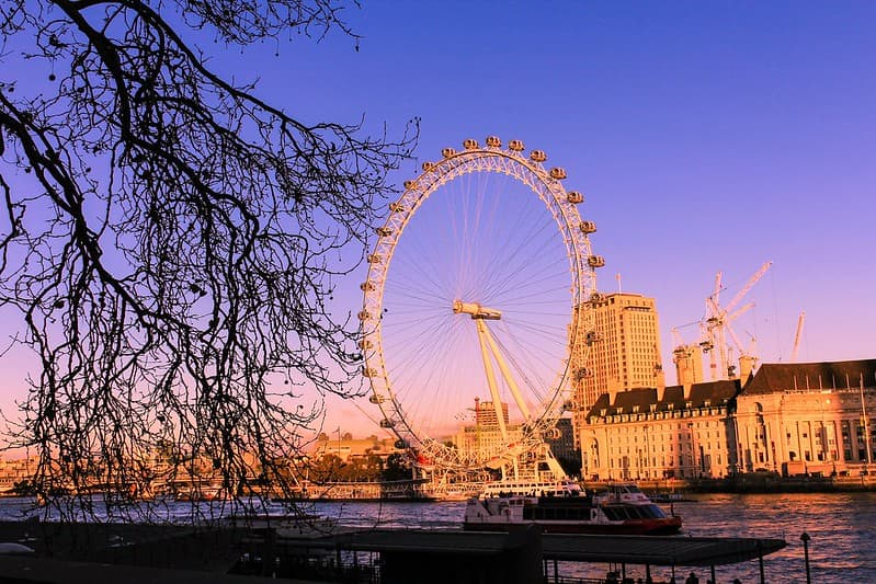 A sunset sky over the London Eye and the South Bank.