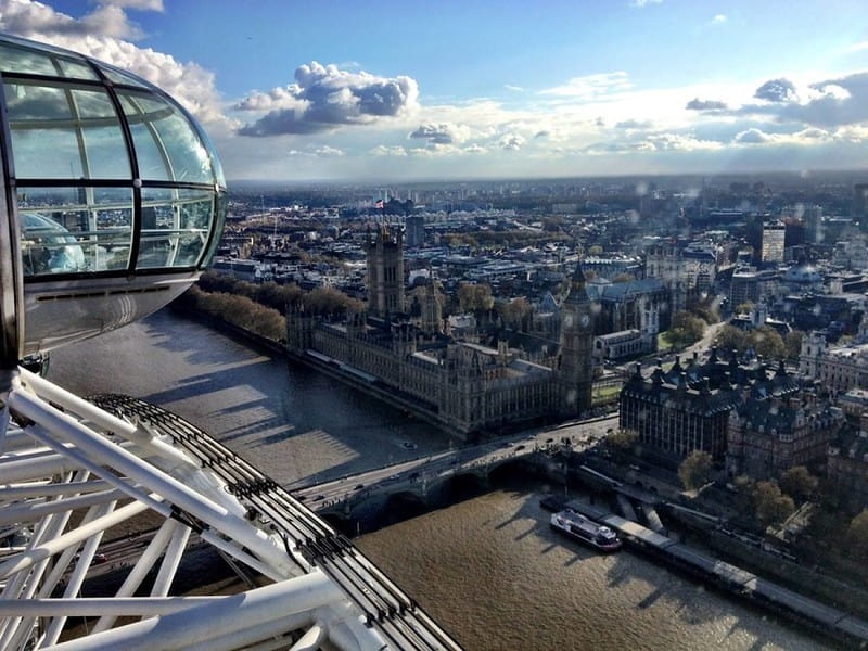 A pod on the London Eye overlooking Westminster, Big Ben and the Houses of Parliament.