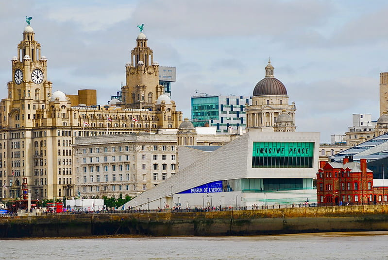 A view of Liverpool city centre from across the water.
