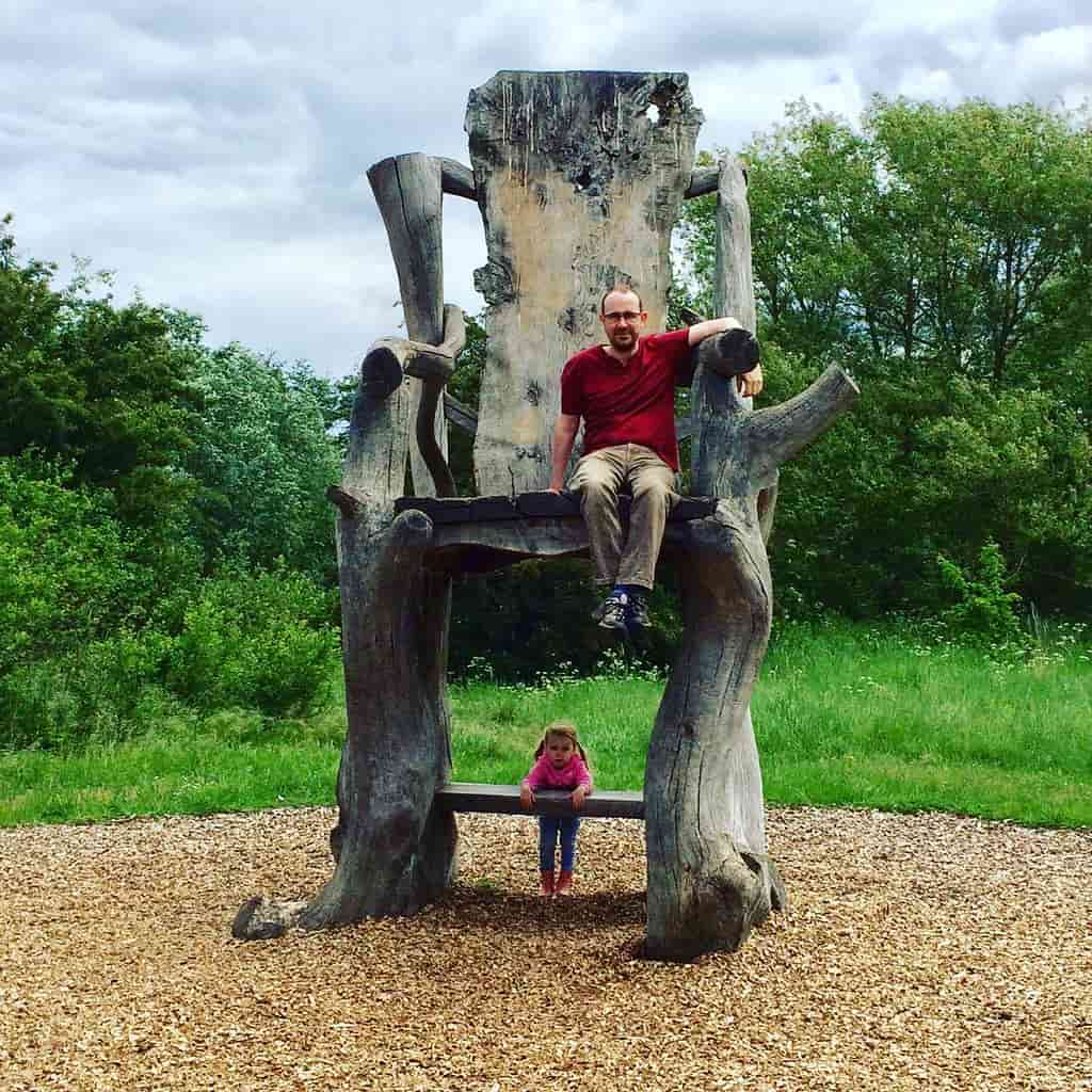 The author and his daughter on a giant hair at River Lee Country Park.