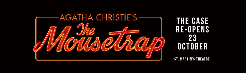 Promo poster for The Mousetrap with a neon orange logo on black background.