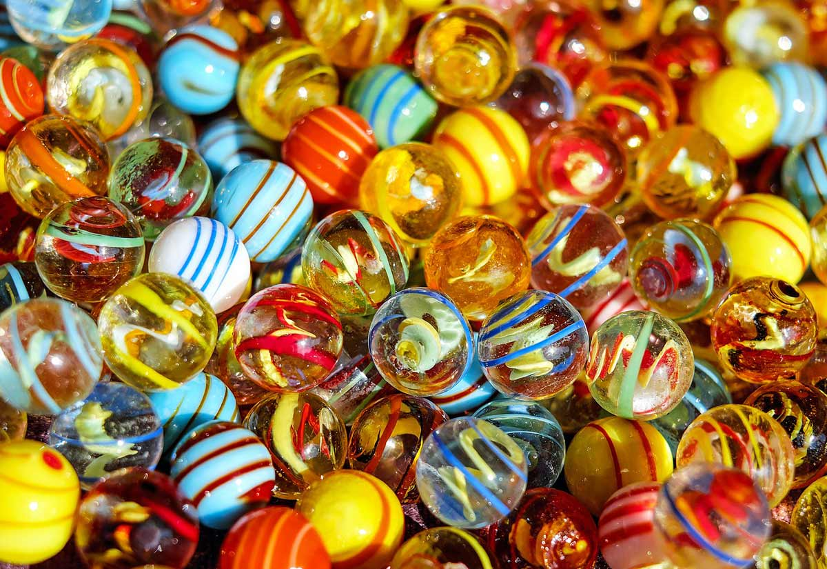 Lots of colourful, patterned marbles.