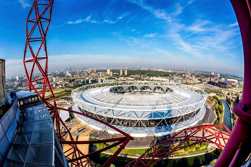 View over Queen Elizabeth Olympic Park from ArcelorMittal Orbit in Stratford.