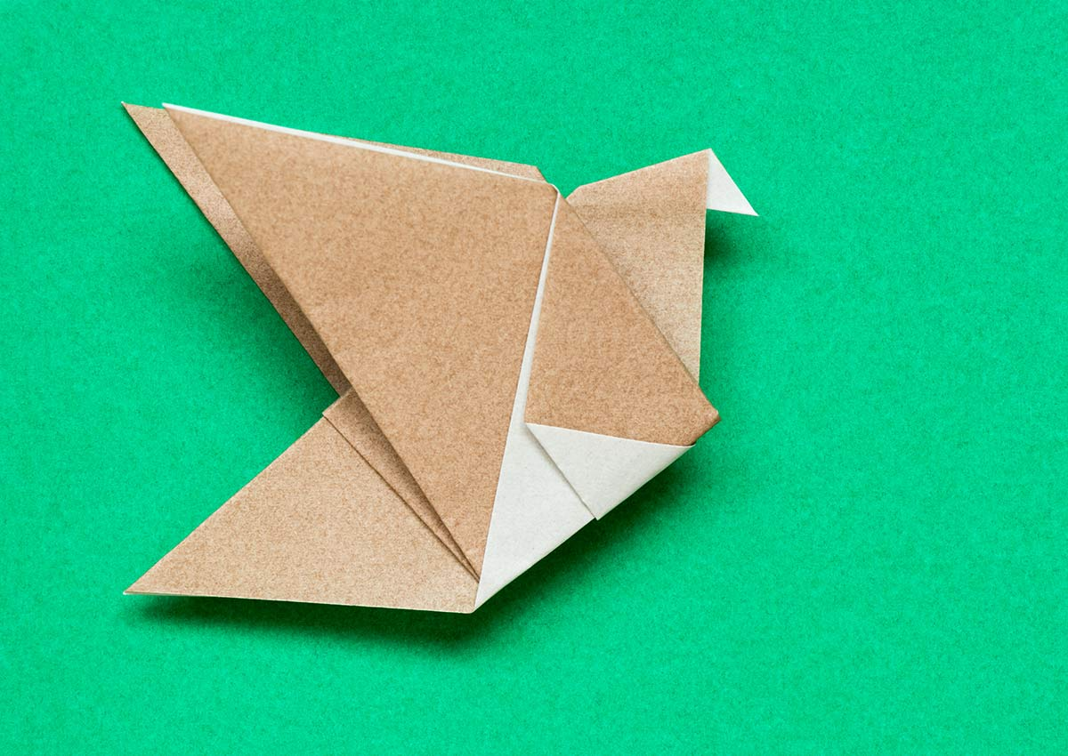 A brown and white origami robin lying on a green background.