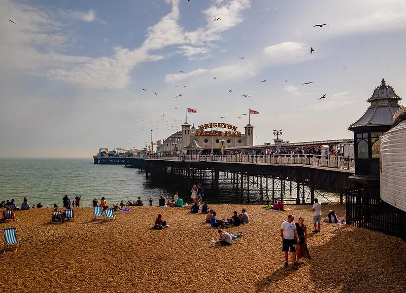 Brighton Beach in the sun.