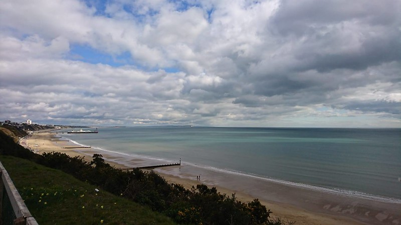A panoramic view of the beach in Bournemouth.