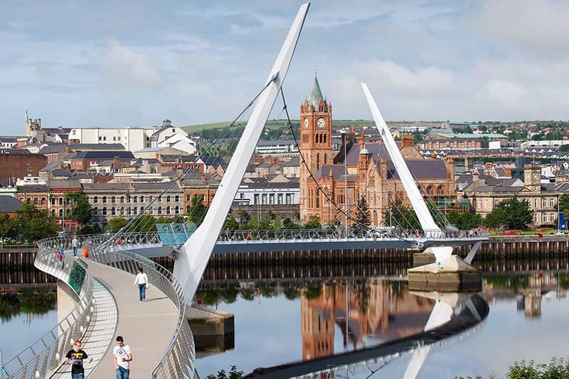 View of Derry city centre across the River Foyle.