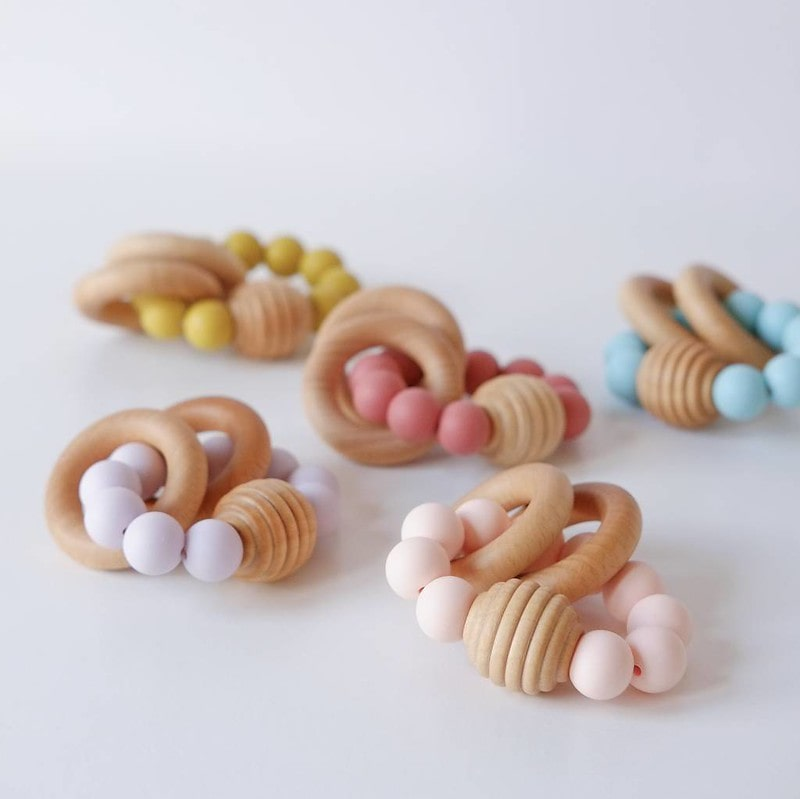 Blossom And Bear Beehive Wooden Teething Toy.