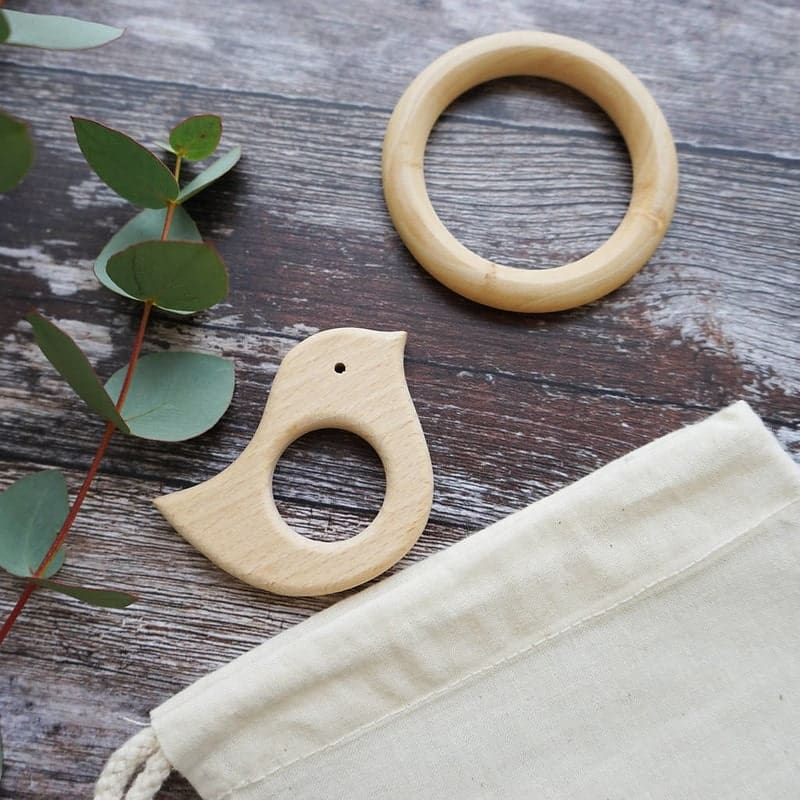 Sparks & Daughters Wooden Baby Bird And Teether Set.
