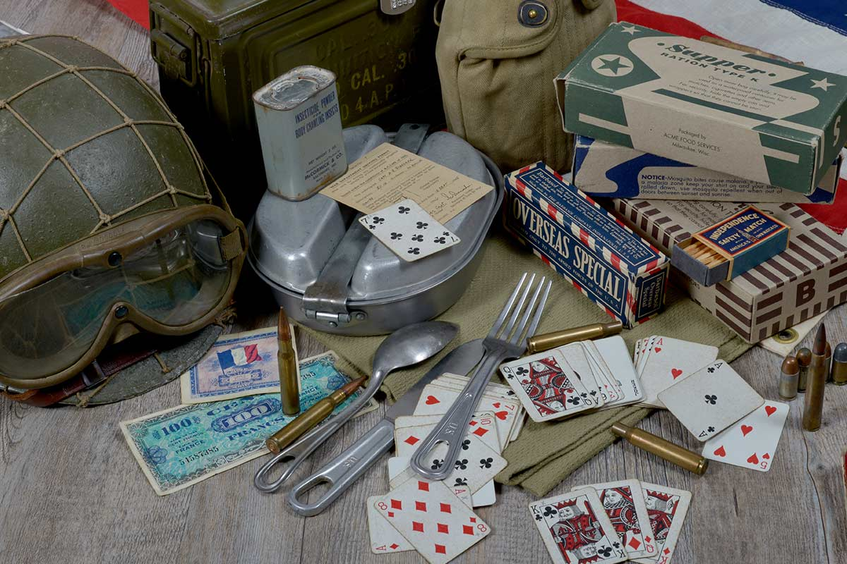 Display of items which were rations in WW2, including playing cards.