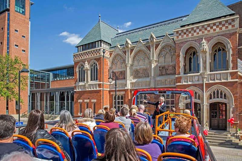 View from the open top deck of a City Sightseeing bus at the Royal Shakespeare Company in Stratford-upon-Avon.