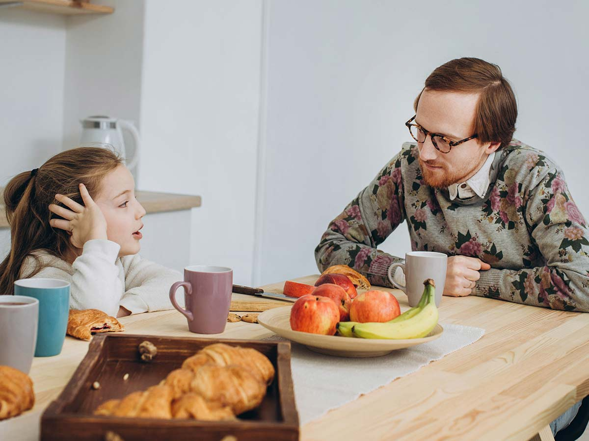 Dad and daughter sat at the breakfast table discussing synonyms.