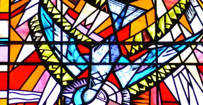 Colourful stained glass window in Belfast Cathedral.