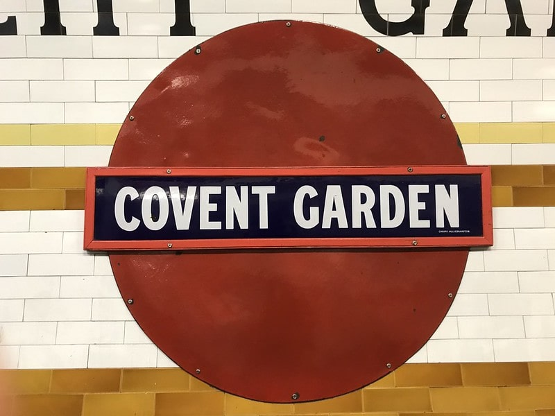 Covent Garden historic roundel in the underground station.