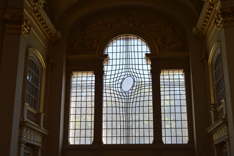 Twisted window at St Martin in the Fields.