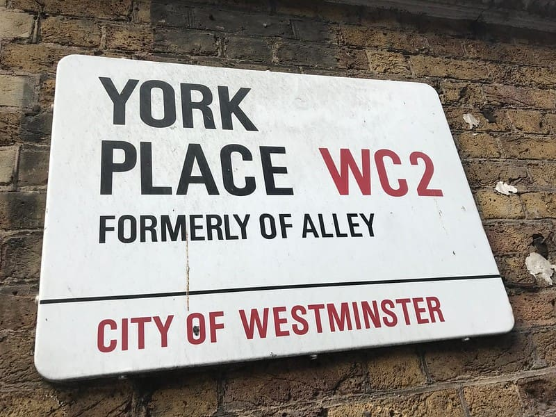 Road sign for York Place, formerly Of Alley.