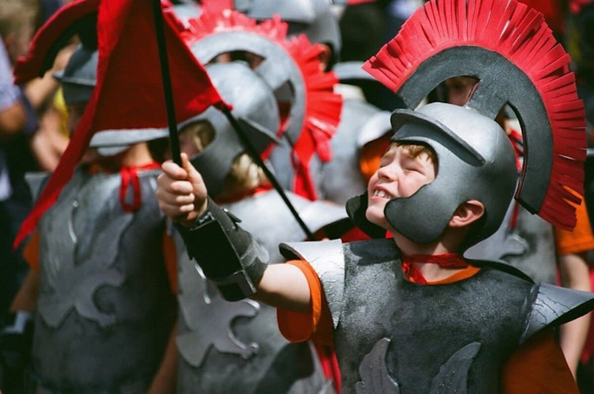 Boy dressed up as a Roman gladiator.