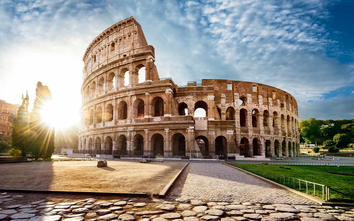 The Colosseum in Rome, the most famous Roman amphitheatre, where gladiators fought.