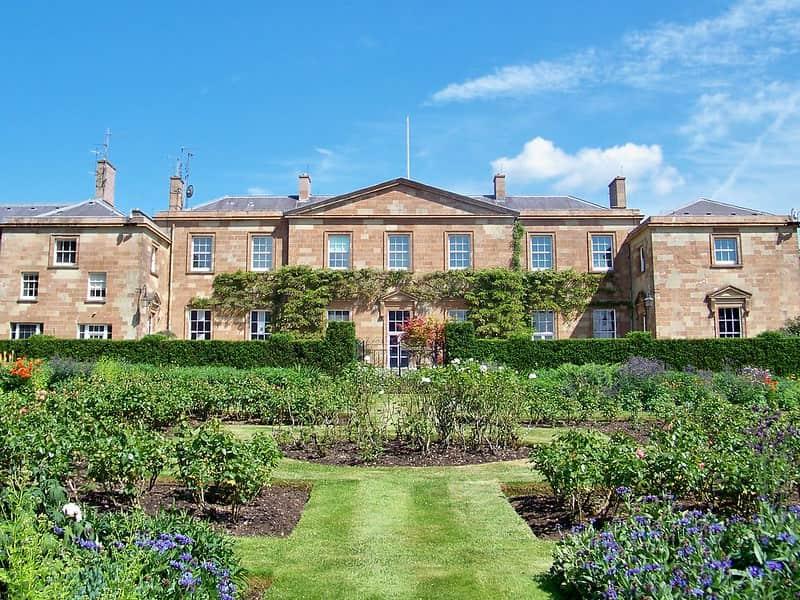 The western facade of Hillsborough Castle from the royal gardens.