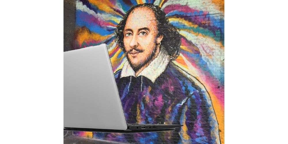 Shakespeare and laptop.