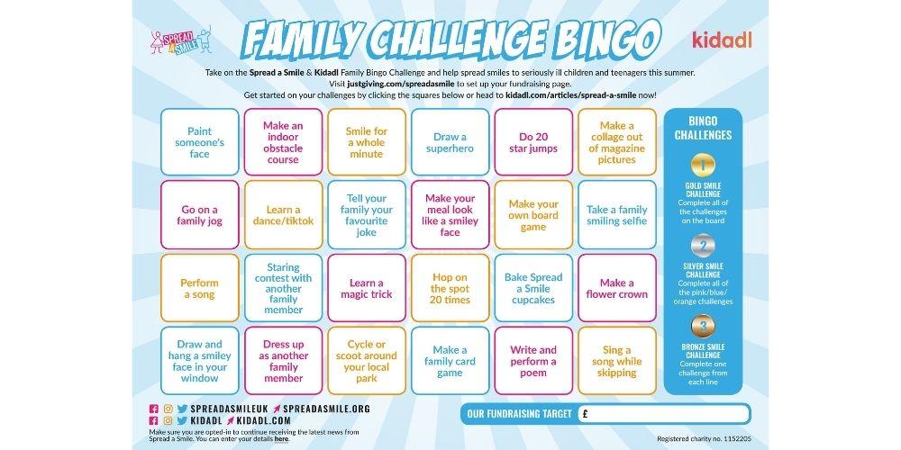 spread a smile family challenge bingo.