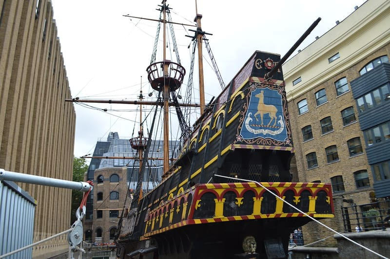 Aft of the Golden Hinde.