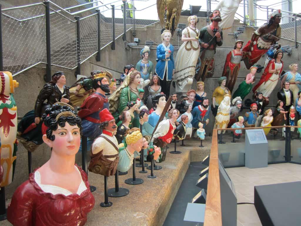 Cutty Sark figureheads on display.