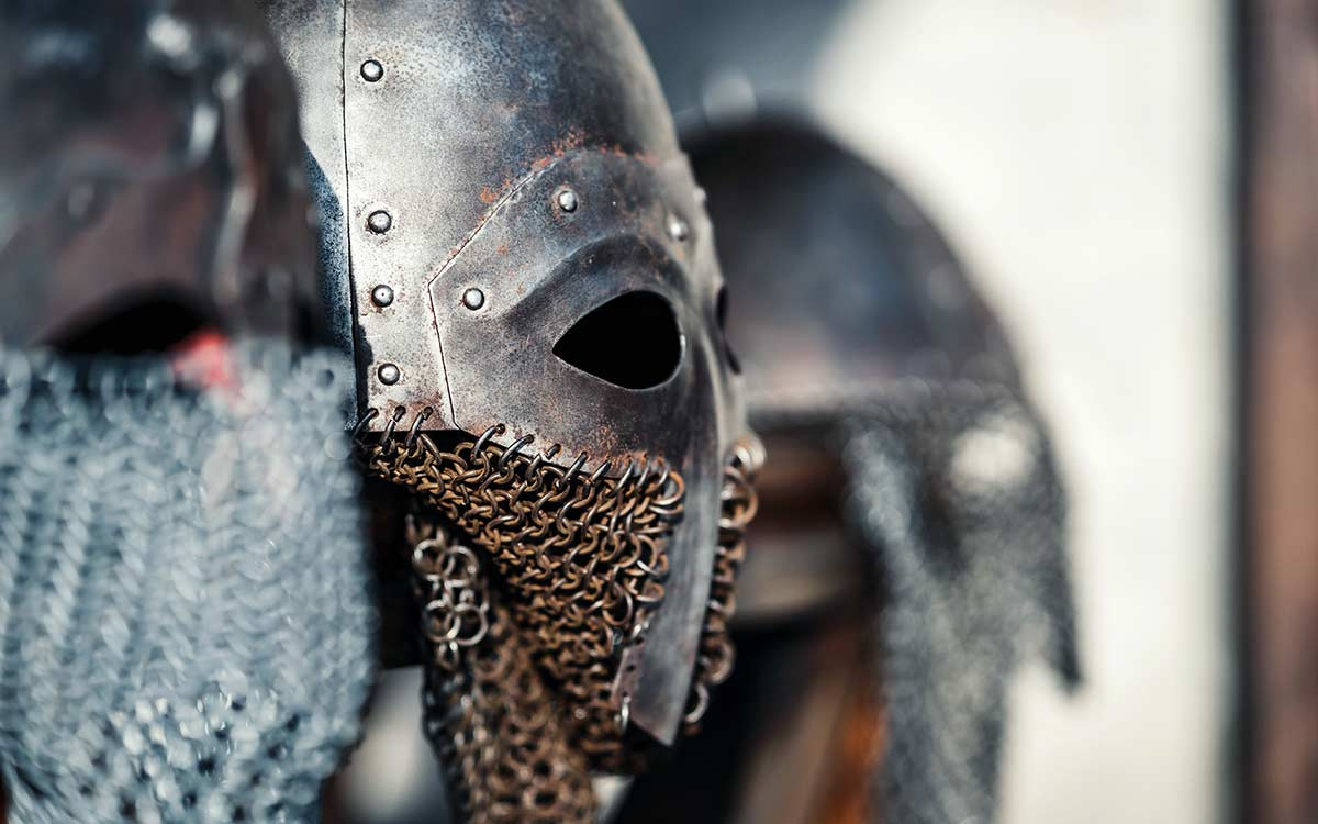 A close up image of a Viking helmet.