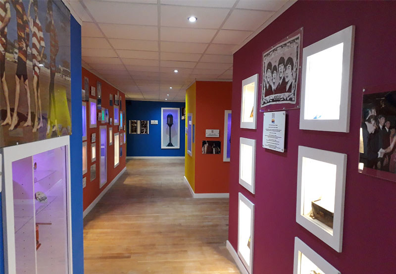 Colourful exhibition space at the Liverpool Beatles Museum.