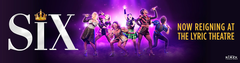 A poster for Six The Musical with the six queens posing mid-song.