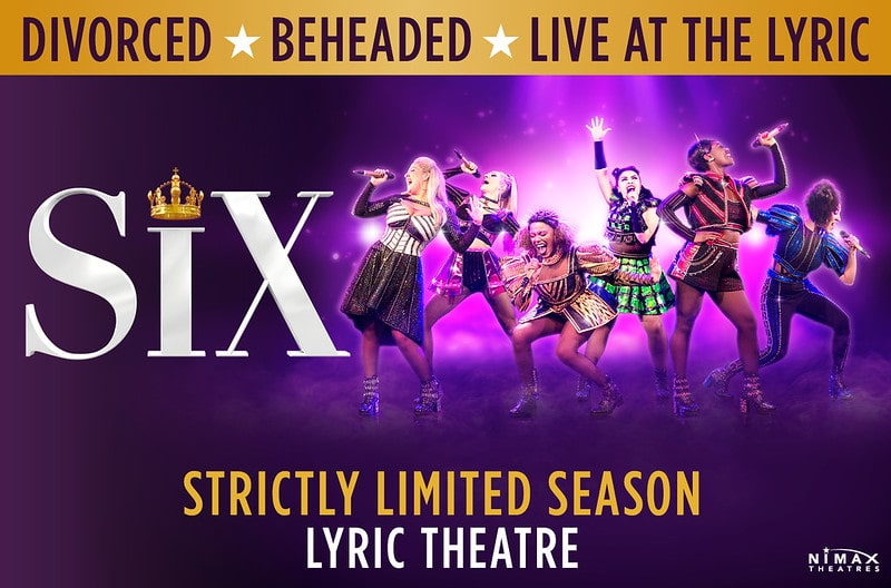 A purple poster for Six The Musical with the female cast posing mid-song.