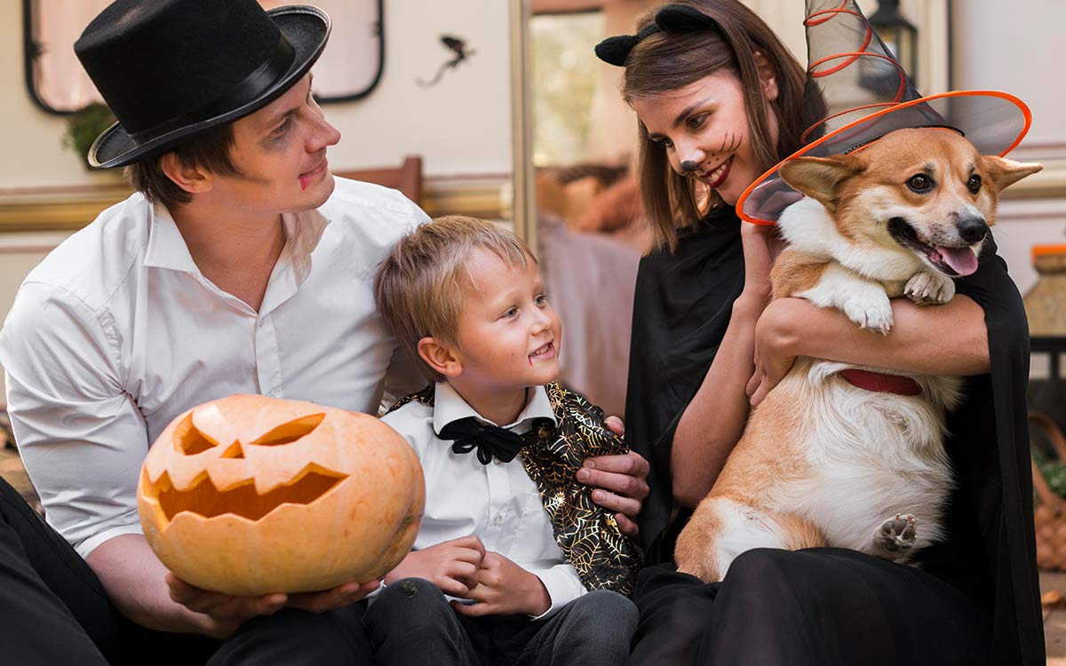 A whole family, including a dog, in Halloween fancy dress holding a pumpkin.,