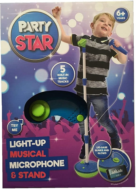 Party Star Kids' Childrens' Light Up Musical Microphone And Stand.