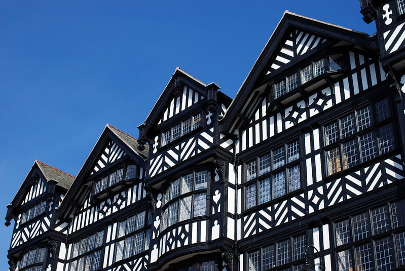 Black and white Tudor style houses in Chester.