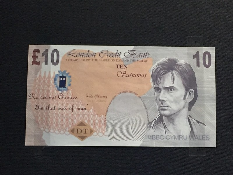 Doctor Who ten pound note with David Tennant's face.