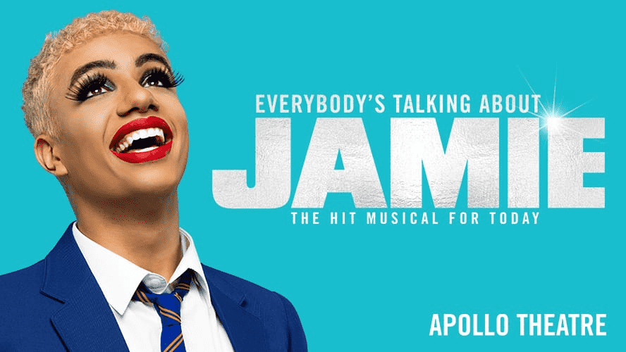 The main character of Everybody's Talking About Jamie looking up and smiling in the promotional poster of the show.