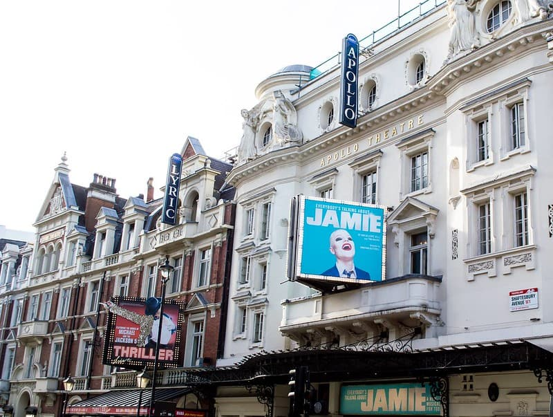 The exterior of the Apollo Theatre and Lyric Theatre in Shaftesbury Avenue, London.