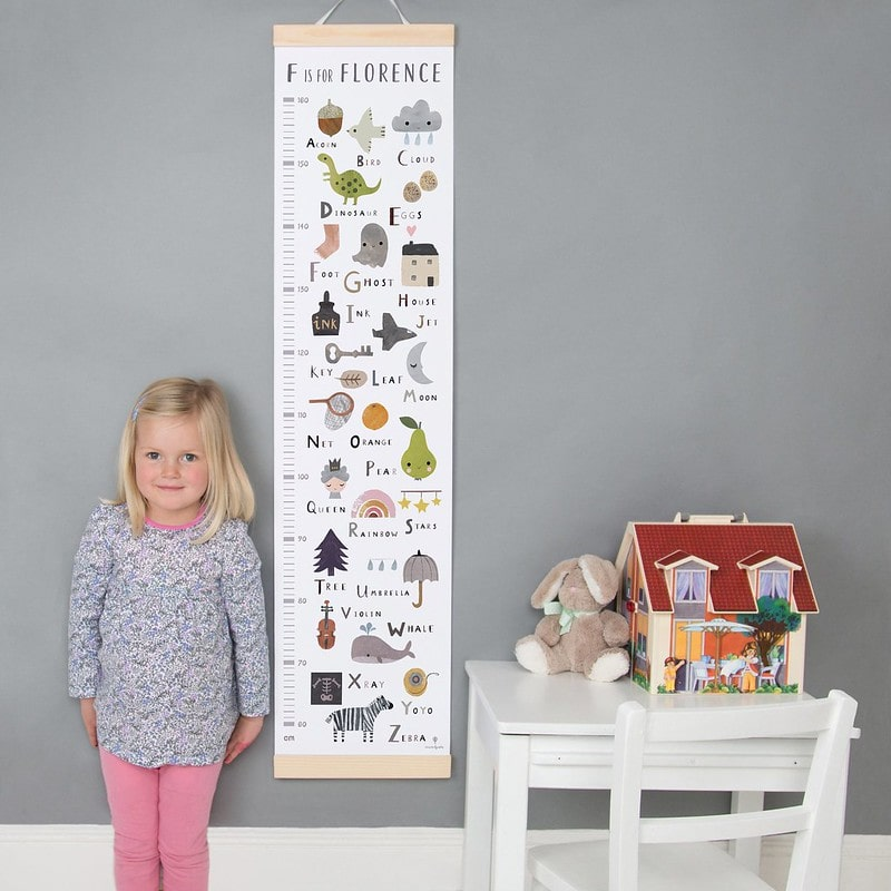 Made By Ellis Personalised Alphabet Height Chart.