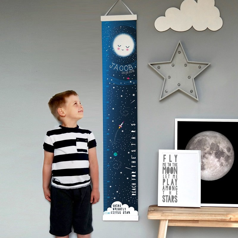 Pepper Print Shop Personalised Reach For The Stars Space Height Chart.