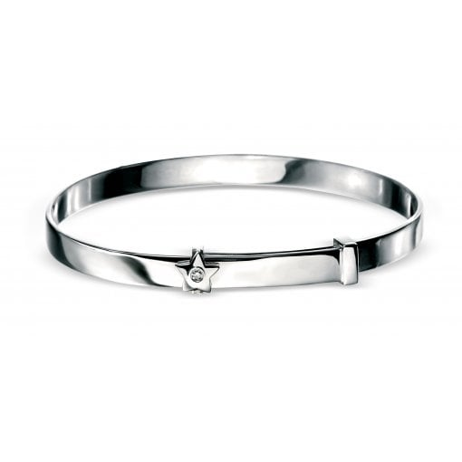 D For Diamond Silver Diamond Set Star Expandable Baby Bangle.