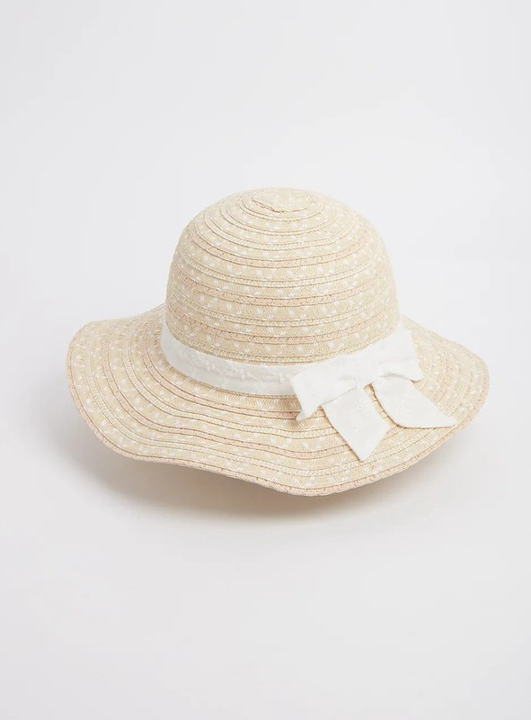 Tu Straw Cloche Sun Hat With Bow.