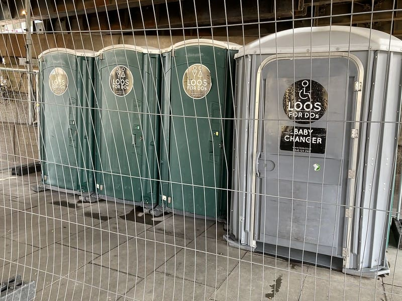 Portable loos in South Bank.