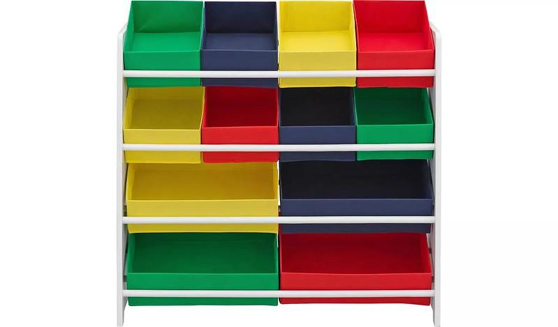 Argos White 4 Tier Kids' Basket Storage Unit.