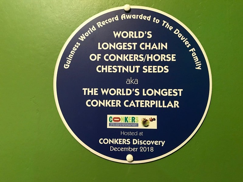 World's longest chain of conkers sign.