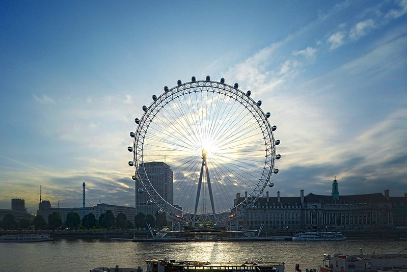 A view of the London Eye from the River Thames.