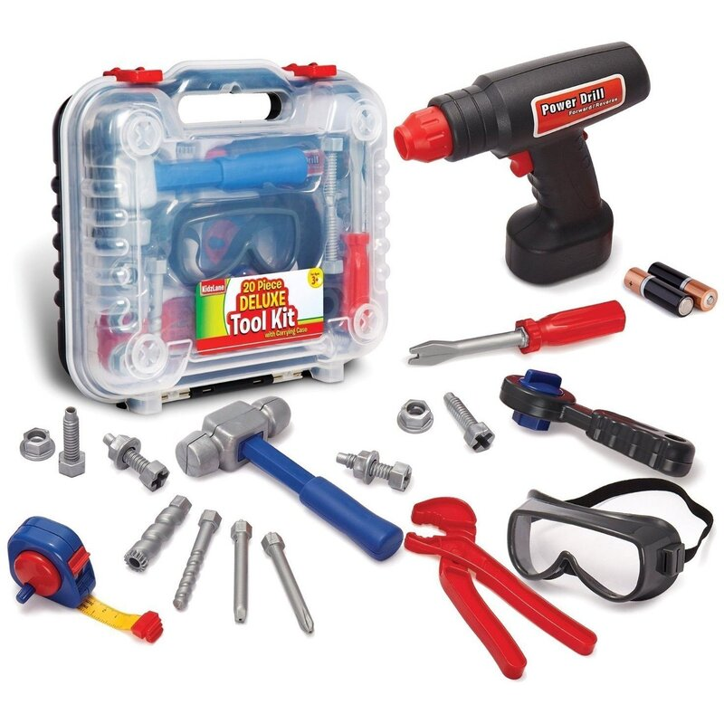 Kidzlane Durable Kids' Tool Set With Electronic Cordless Drill.