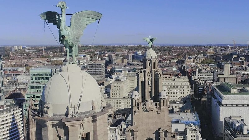 The Liver Bird statues perched at the top of the Royal Liver Building.
