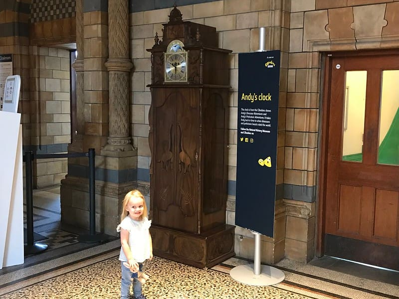 Andy's Clock on display at the Natural History Museum.