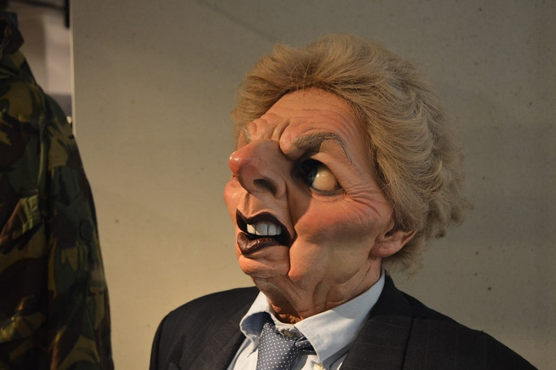 Mock up of Margaret Thatcher's head.