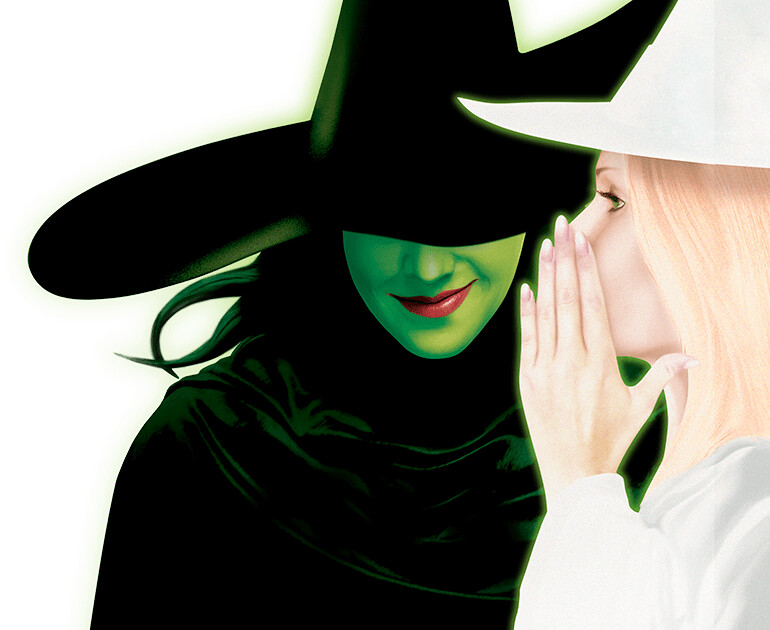 Cartoon poster for Wicked The Musical of Glinda whispering to Elphaba.